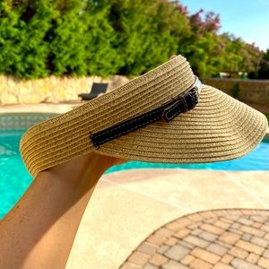 Nine West Straw Hat Sun Visor One Size Fits Most
